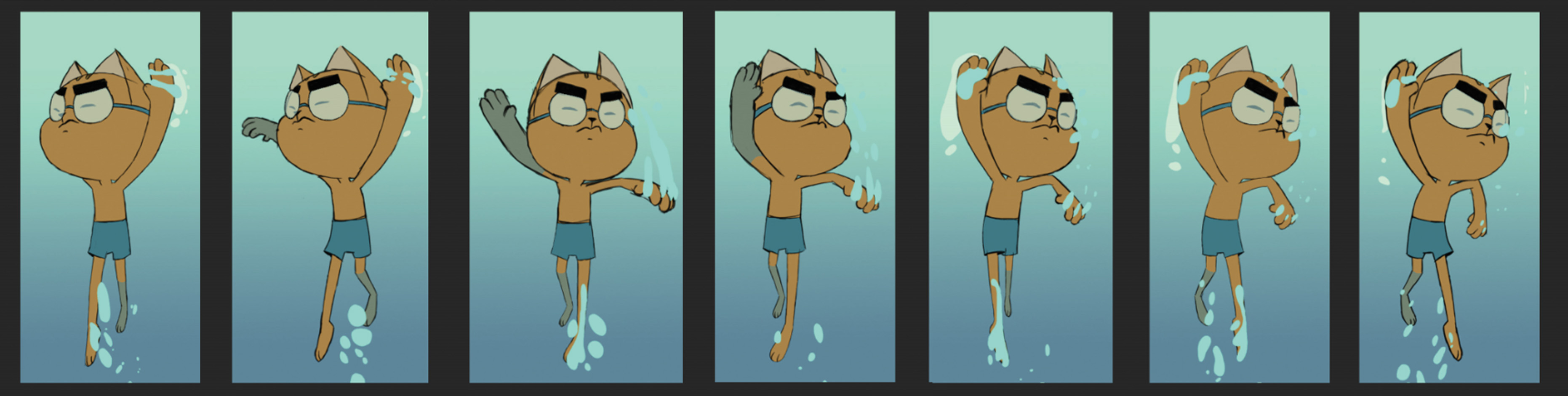 <p>'Cats can't swim' animation sequence</p>