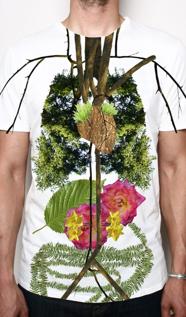 Design of t-shirt showing woodland graphic