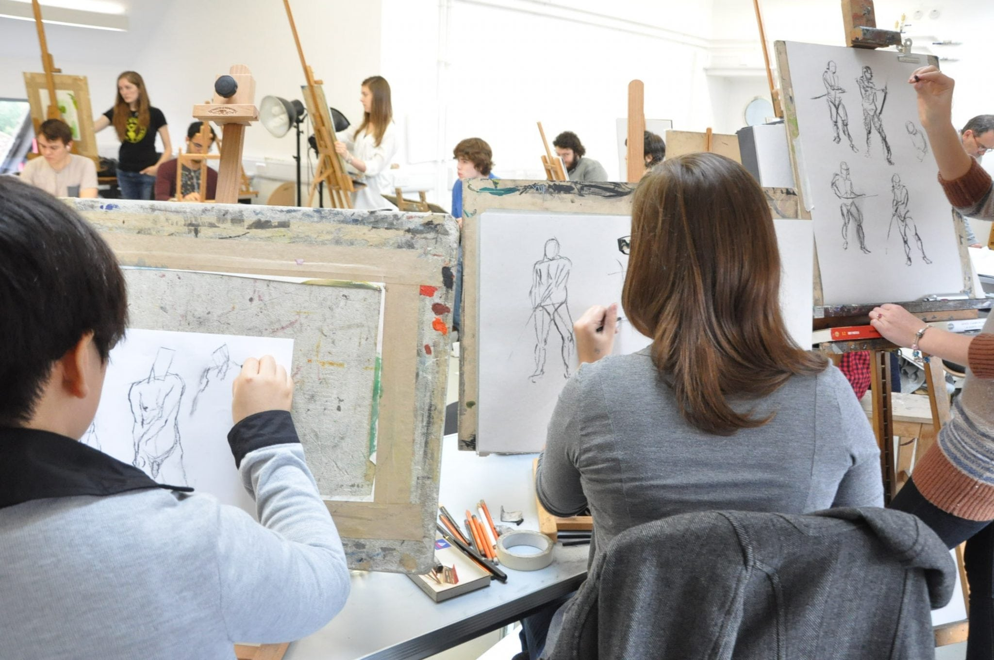 Level 5 BA (Hons) Animation Production students in Life Drawing class
