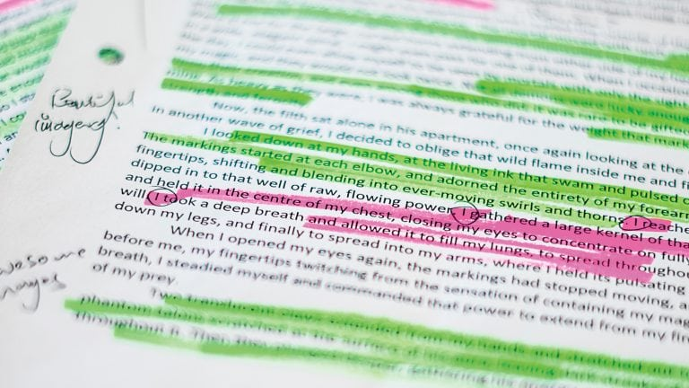 BA (Hons) Creative Writing - marked up text