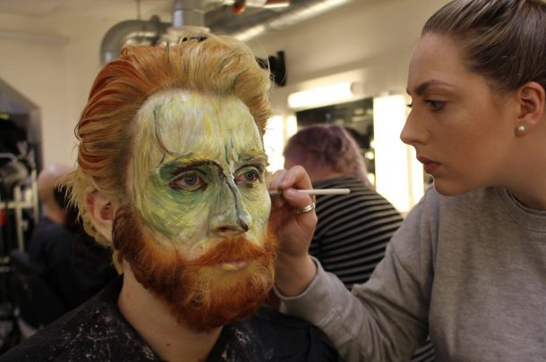 Make-up students work on Live Portrait Models