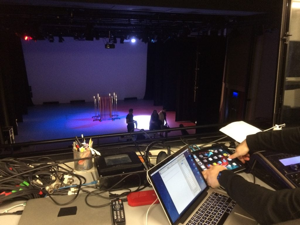 Students sorting out lighting for Dance Production