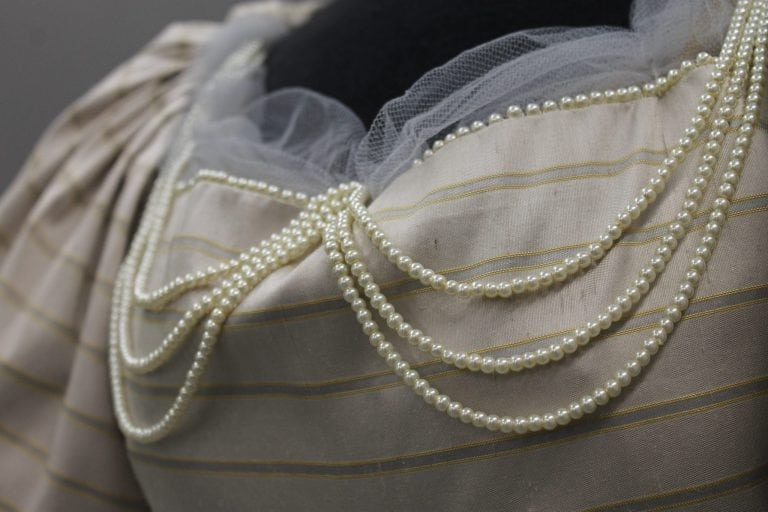 Detail of Jennifer Miller's dress