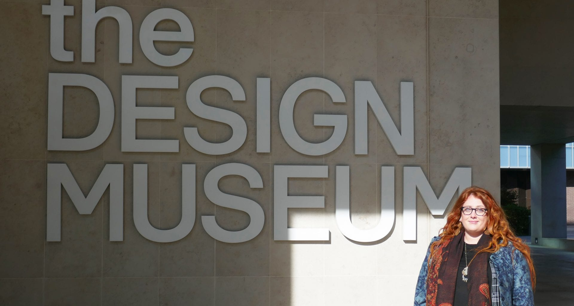 AUB Graphic Design student Alice Lynn at the Design Museum in London