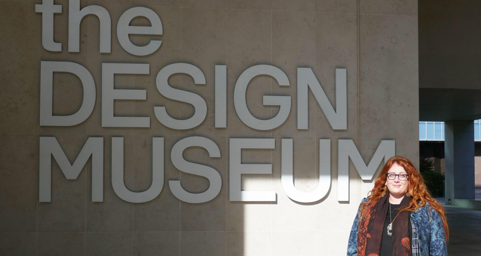 AUB Graphic Design student Alice Lynn at the Design Museum in London