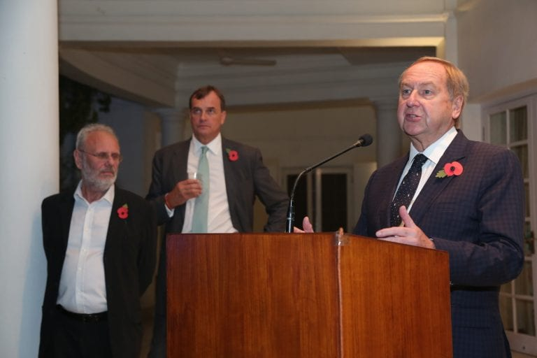 AUB Principal and Vice Chancellor Professor Stuart Bartholomew CBE speaking at a symposium held at the event, in front of Sir Dominic Asquith (rear, middle)