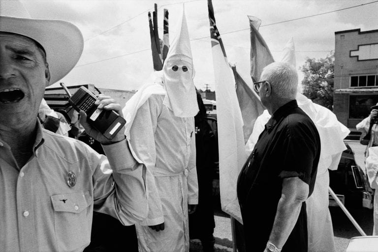 Klansmen gather outside Jasper courthouse, in the aftermath of the brutal racist murder of a local black resident James Byrd Jnr.  Jasper, Texas, USA.  Part of a series titled