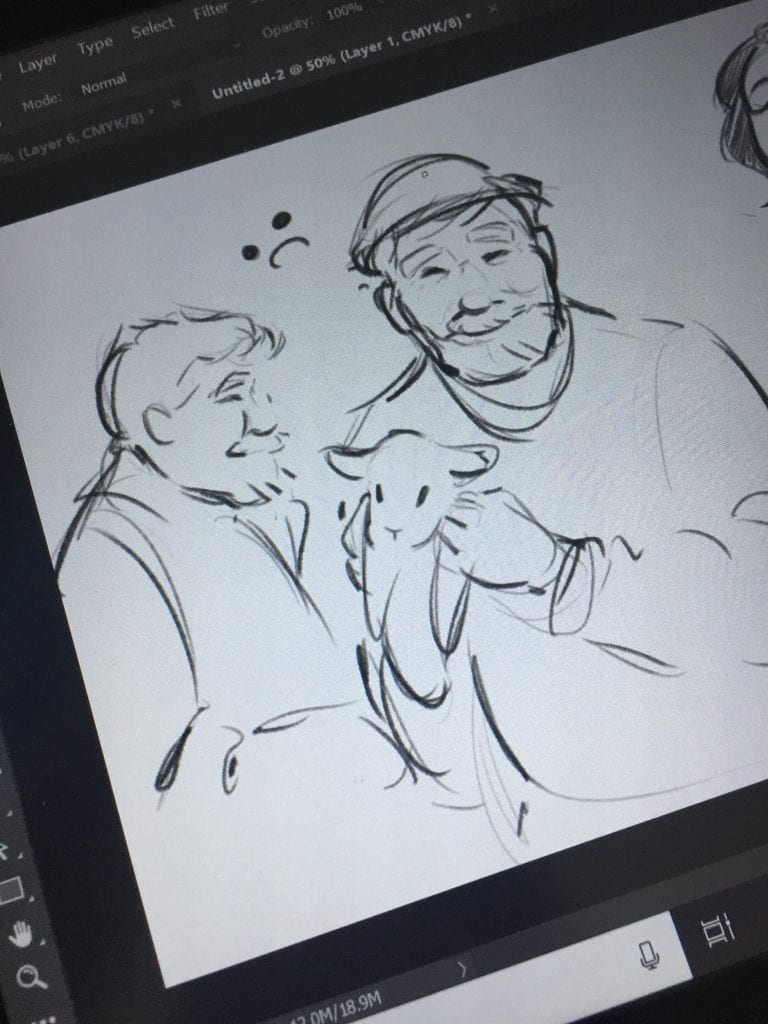 animation of a farmer holding a baby lamb