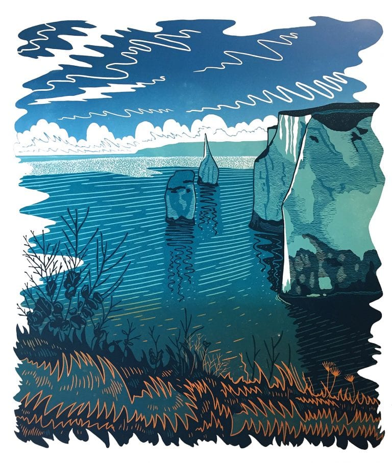 Reduction lino cut of Old Harry rocks