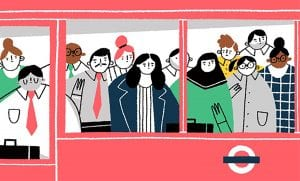 Illustration of people on a train