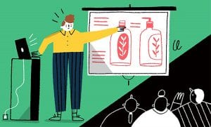 Illustration of a women presenting packaging ideas
