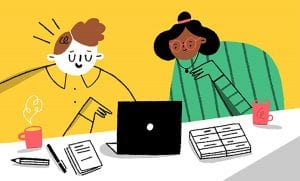Illustration of two women looking at a laptop