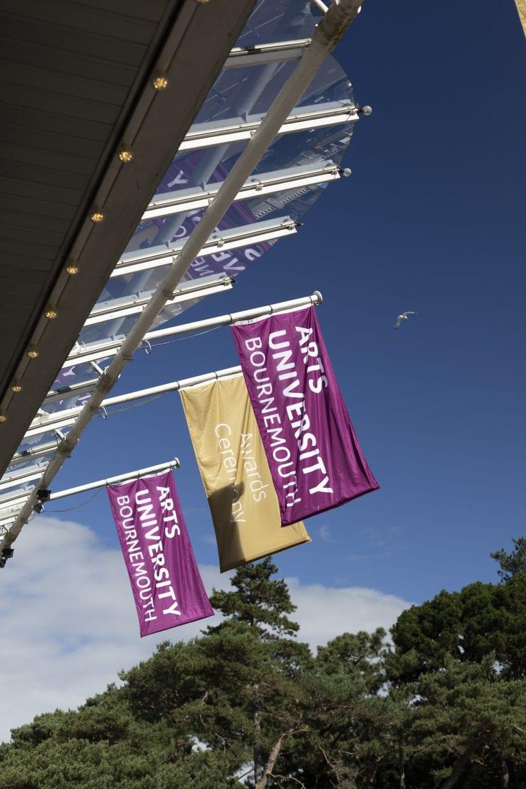 AUB Graduation flags at the Pavillion Bournemouth